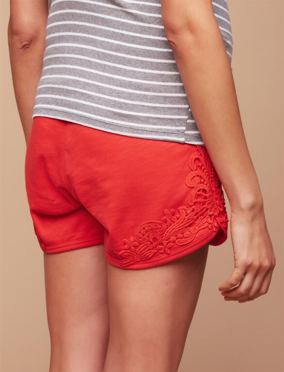 Under Belly Crochet Detail French Terry Maternity Shorts, Red