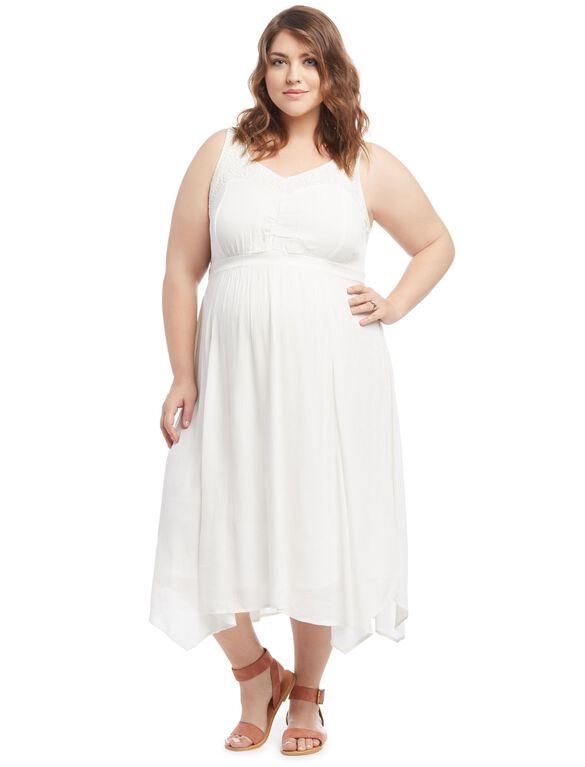 Plus Size Lace Shoulder Maternity Dress, Cloud Dancer