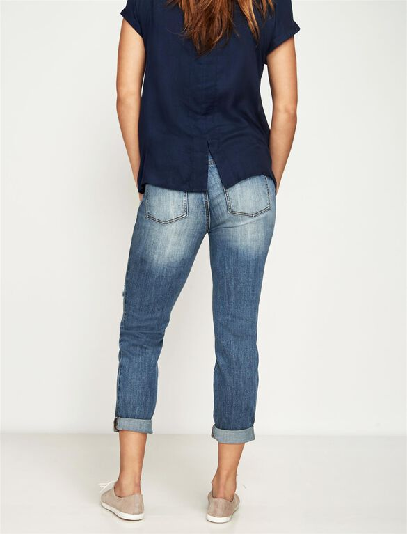 Luxe Essentials Denim Secret Fit Belly Destructed Boyfriend Maternity Jeans, Vintage Medium Wash