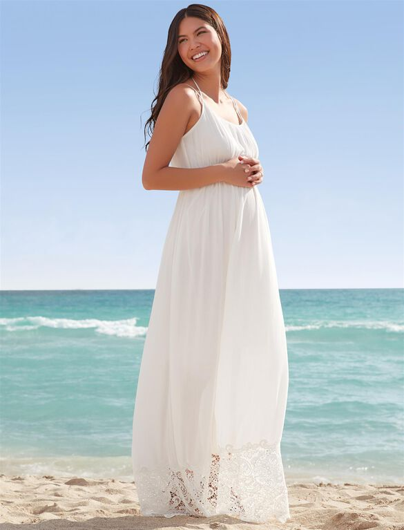 Lace Hem Maternity Maxi Dress, White