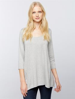 Side Zip Nursing Tee, Solid Heather Grey
