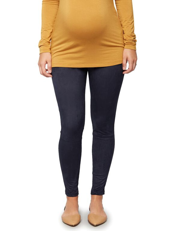Under Belly Faux Suede Maternity Leggings, Classic Navy