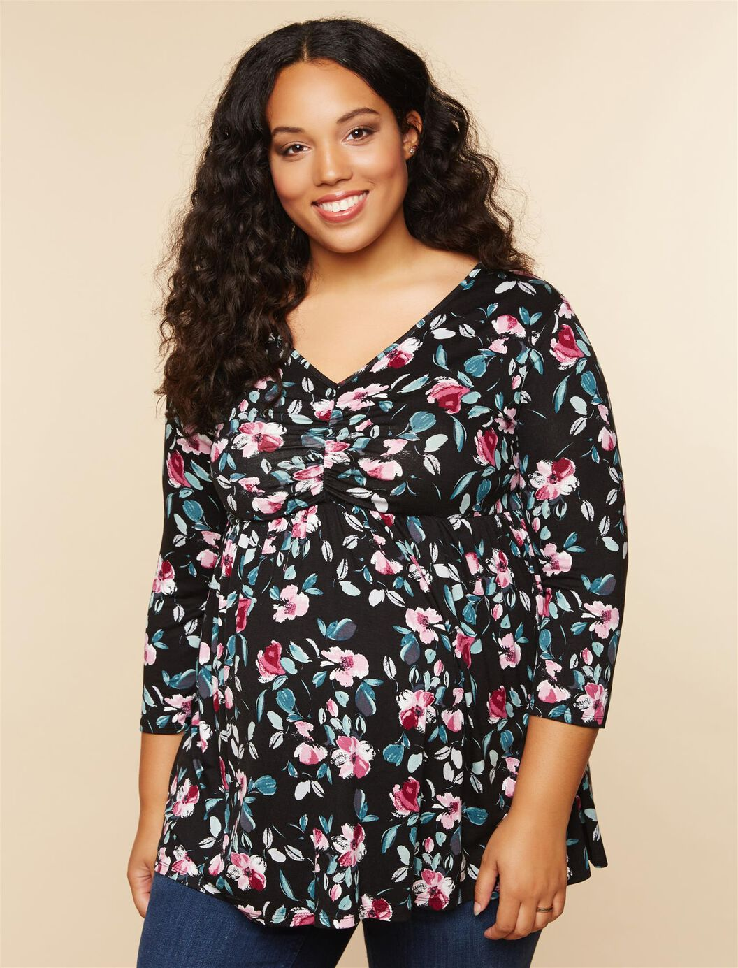 Plus Size Ruched Neckline Babydoll Maternity Top at Motherhood Maternity in Victor, NY | Tuggl
