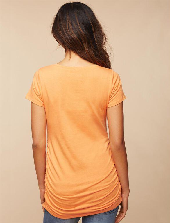V-neck Side Ruched Maternity Tee, Orange Kiss