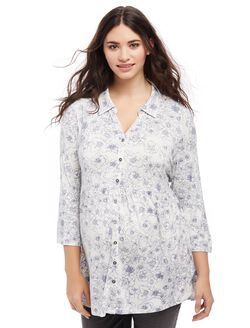 Plus Size Flutter Hem Maternity Top, Egret Wish Print