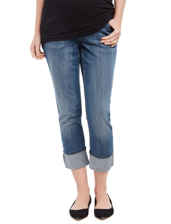 Secret Fit Belly Skinny Leg Maternity Crop Jeans, Dark Wash