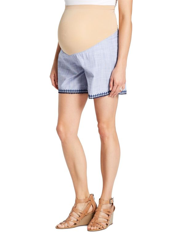 Jessica Simpson Secret Fit Belly Embroidered Trim Maternity Shorts, Blue Chambray