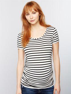 Isabella Oliver Nia Maternity Shirt, Black/White Stripe