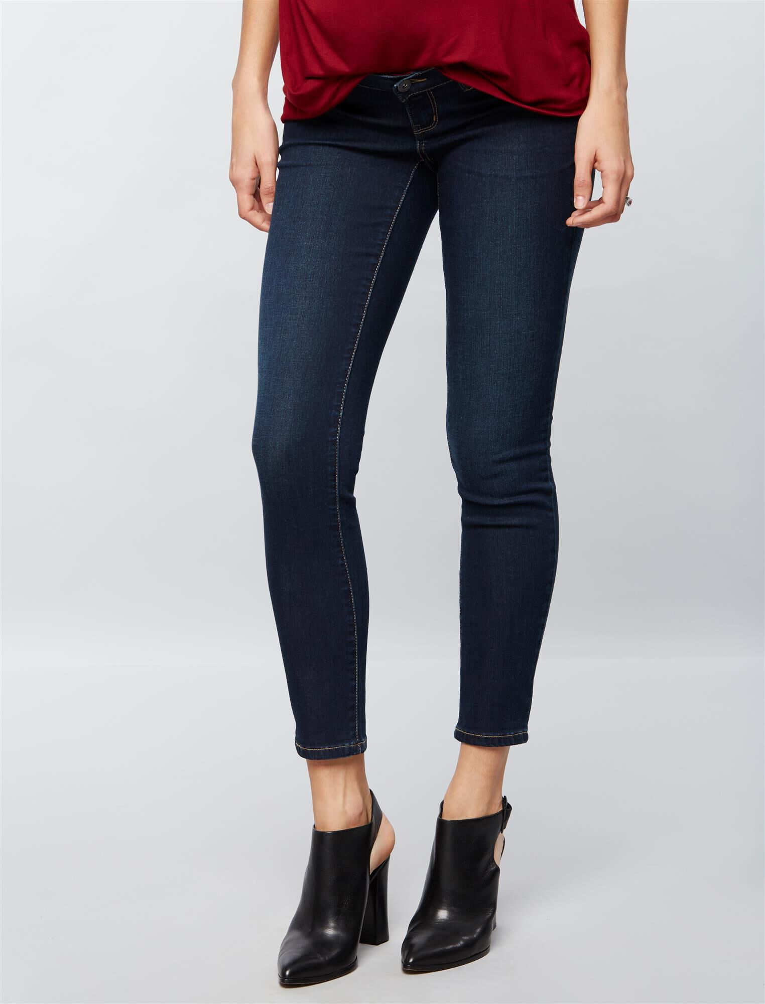Luxe Essentials Denim Side Panel Ankle Maternity Jeggings