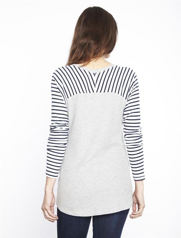 Splendid Maternity Top, H.grey/Navy/White