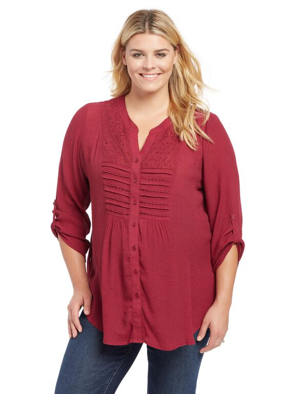 Plus Size Lace Trim Maternity Tunic, Berry