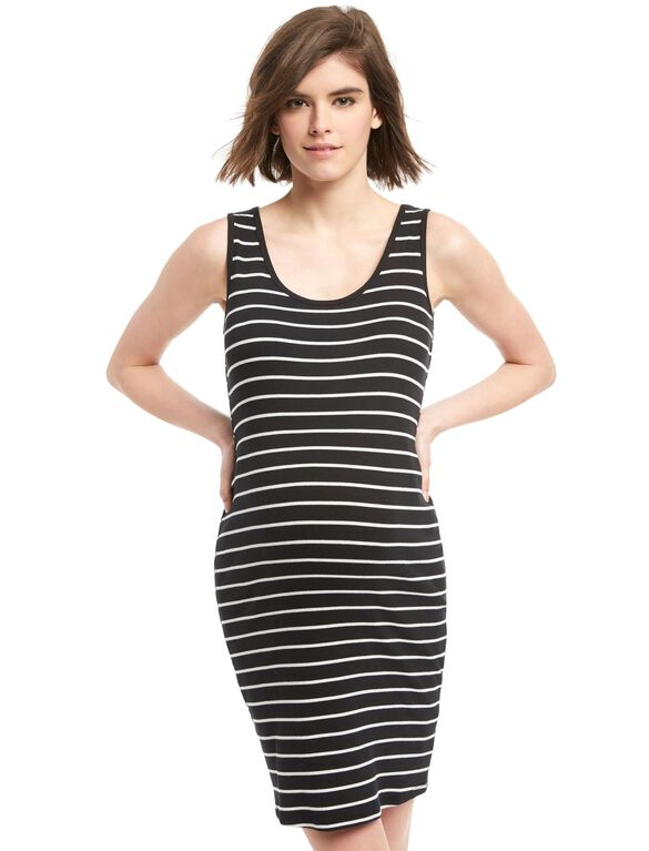 Bumpstart Striped Maternity Dress, Black/White Stripe