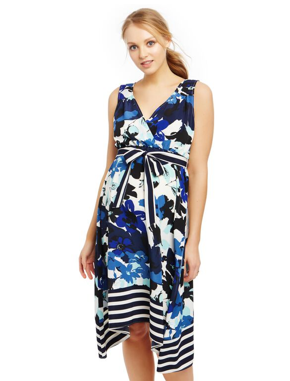 Belted Hanky Hem Maternity Dress, Floral Print