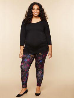 Plus Size Secret Fit Belly Maternity Leggings, BLACK FLORAL