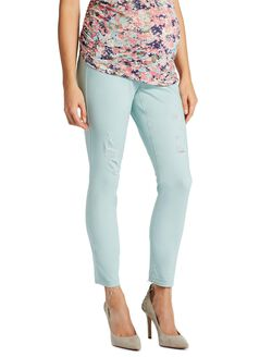 Jessica Simpson Secret Fit Belly Twill Skinny Leg Maternity Crop Pants, Mint Frost