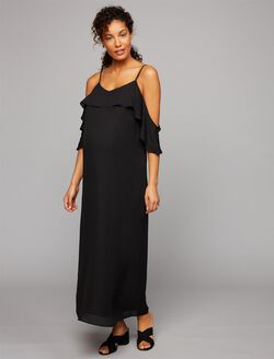 Cold Shoulder Maternity Dress, Black