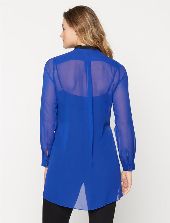 BCBGMAXAZRIA Tie Detail Maternity Blouse, Royal Blue
