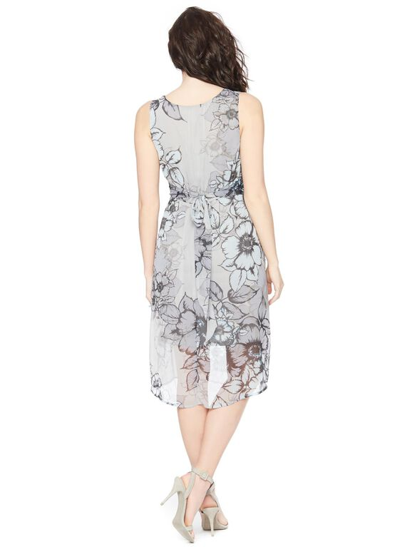 Sleeveless High-low Maternity Dress- Grey Floral, Multi Floral