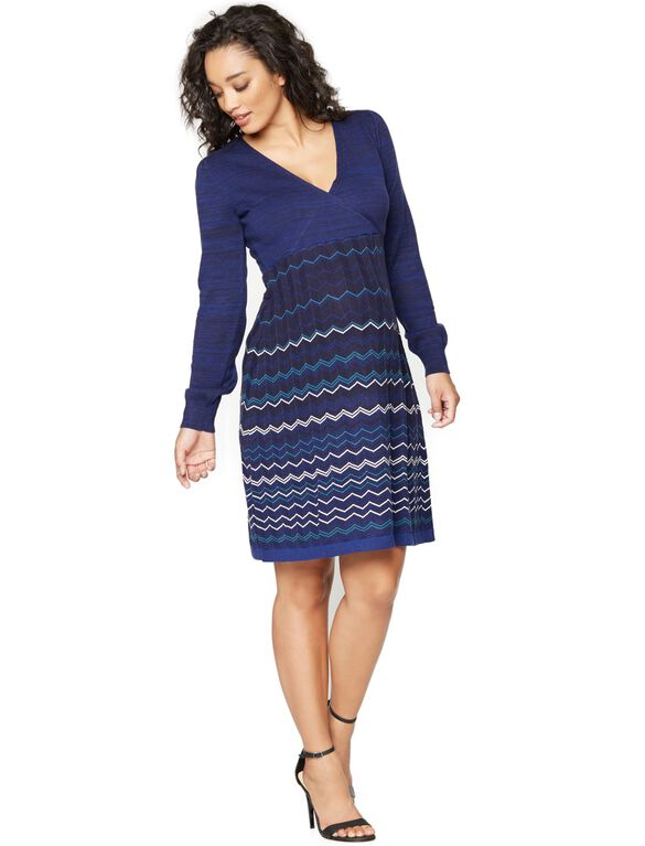 Seraphine Blue Mixed Stripe Maternity Dress, Blue Zig Zag Print