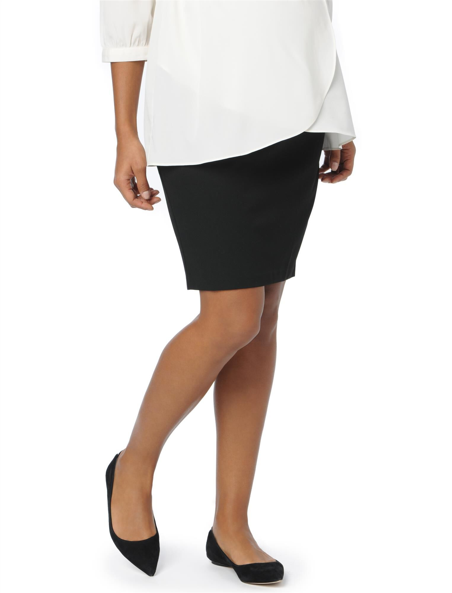 Secret Fit Belly Pencil Fit Maternity Skirt- Black