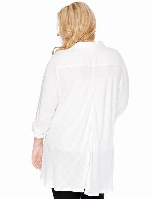 Plus Size Button Front Maternity Shirt, Egret Plaid