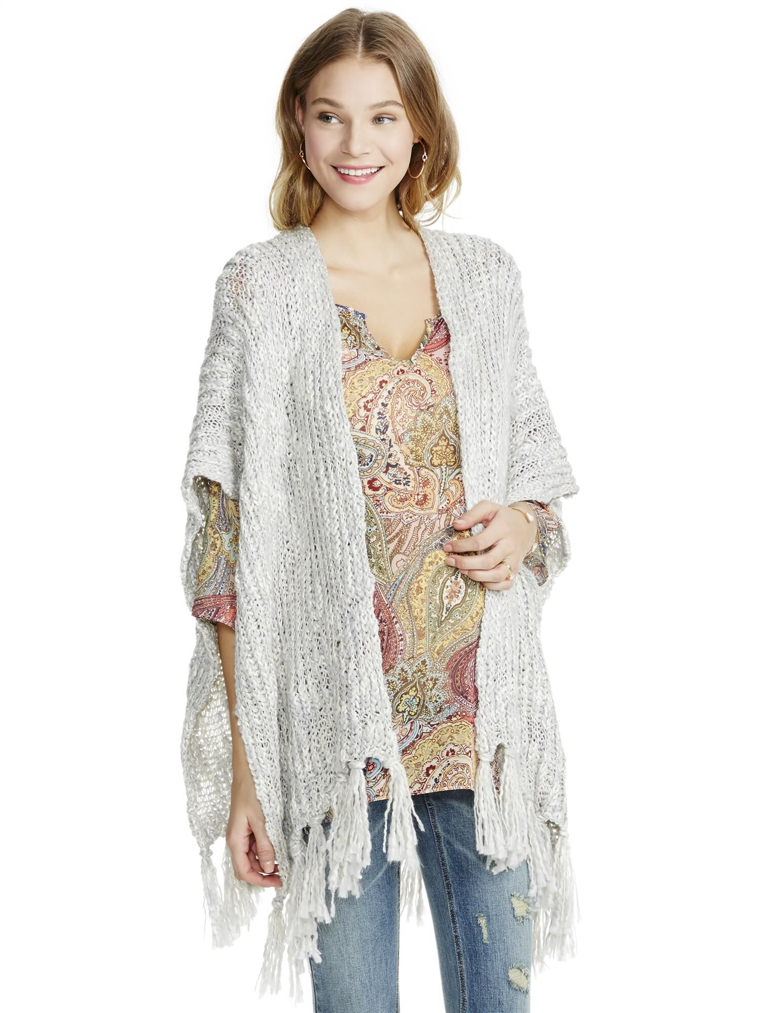Jessica Simpson Cable Knit Open Fringe Maternity Poncho