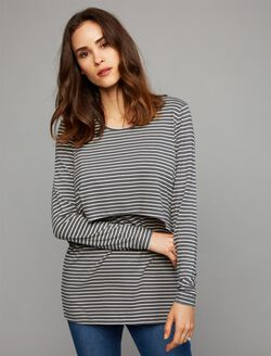 Ripe Swing Back Nursing Top, Slate/Ivory Stripe