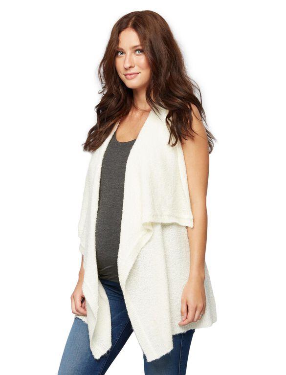 Drape Front Maternity Vest, Egret