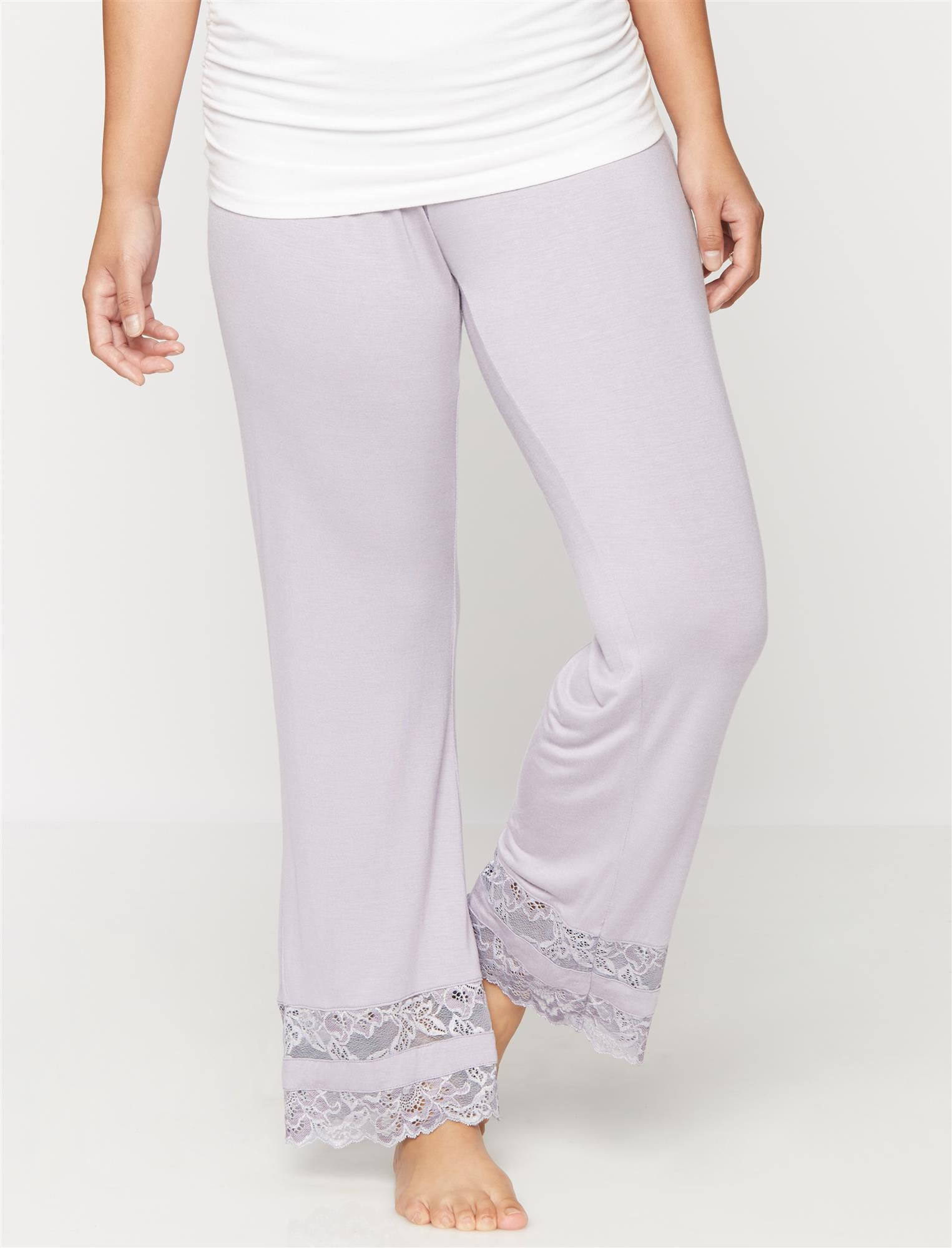 Lace Trim Maternity Sleep Pants- Lavender