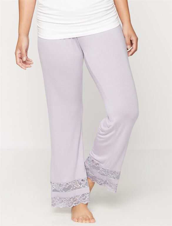 Lace Trim Maternity Sleep Pants- Lavender, Lavender Aura