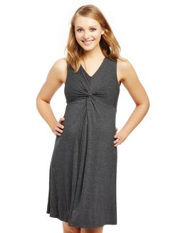 Knot Front Maternity Dress, Heather Grey