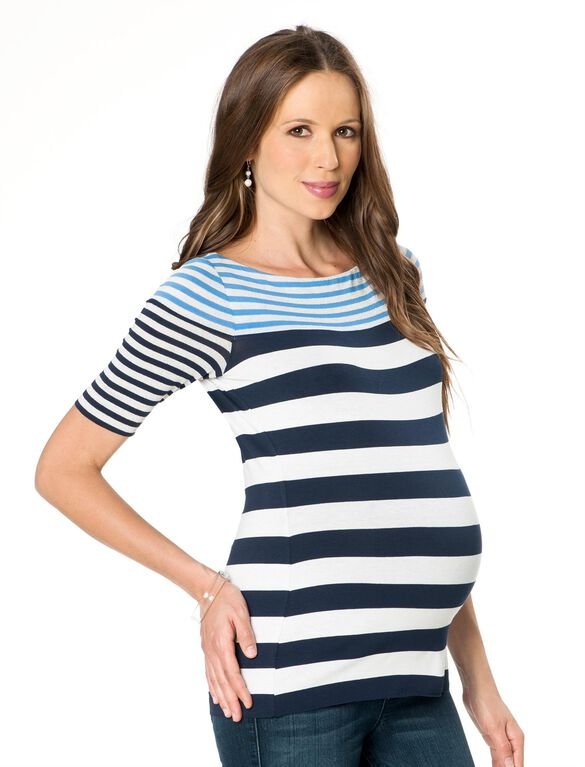 Bailey 44 Rib Knit Maternity Top, Periwinkle/Navy