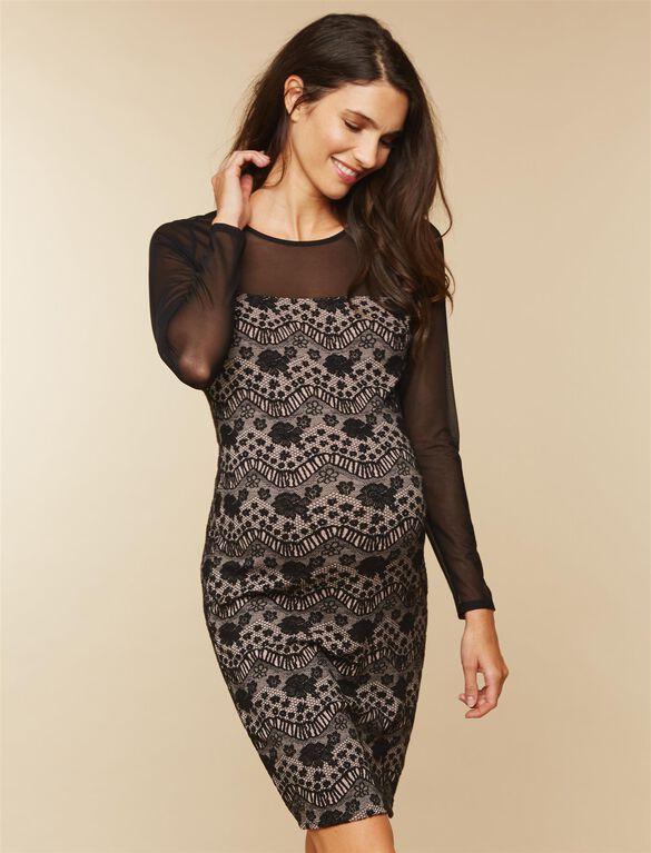 Lace Maternity Dress, Black