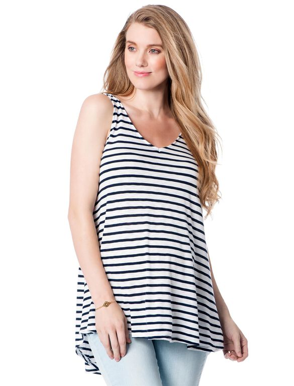 A-line Maternity Tank Top, White/Midnight