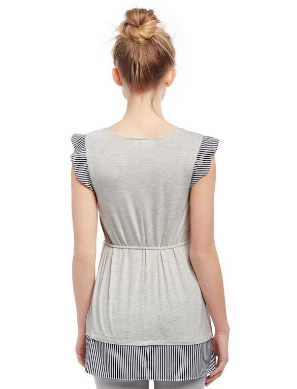 Flutter Sleeve Knit Woven Maternity Shirt- Grey, Grey
