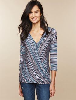 Jessica Simpson Pull Over Wrap Nursing Top, Multi Stripe