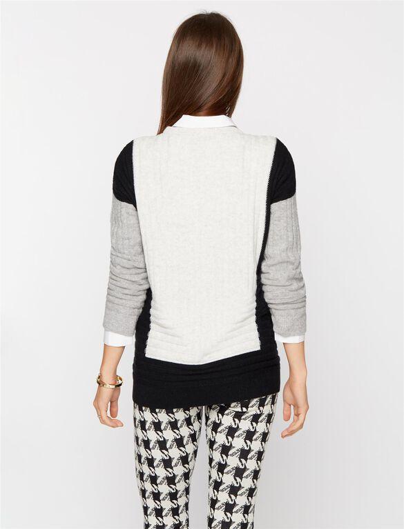 Vince Colorblock Maternity Sweater, Cloud/Black/Steel