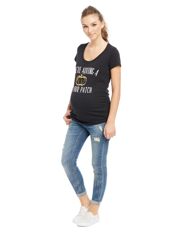 Pumpkin Patch Graphic Maternity Tee, Pumpkin
