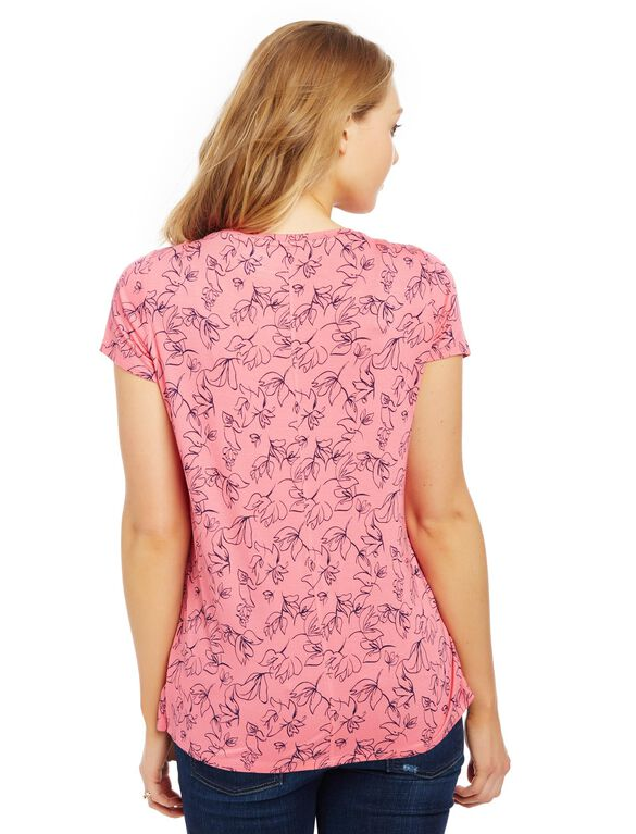 Short Sleeve Tulip Layered Nursing T-shirt- Floral, Camilia Rose Floral