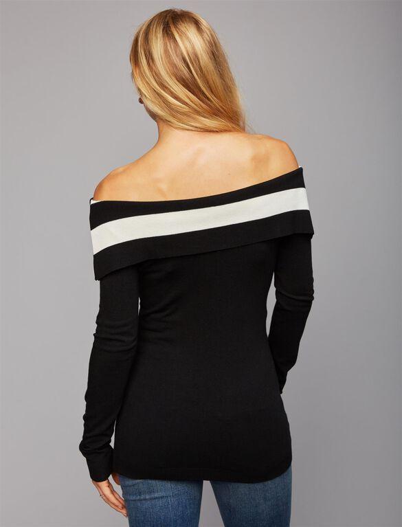 Pietro Brunelli Off The Shoulder Maternity Sweater, Stripe