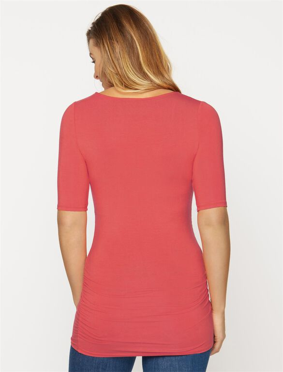 Elbow Sleeve Side Ruched Maternity Tee, Grenadine