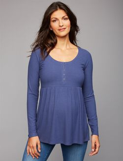 Rib Knit Maternity T Shirt, Blue