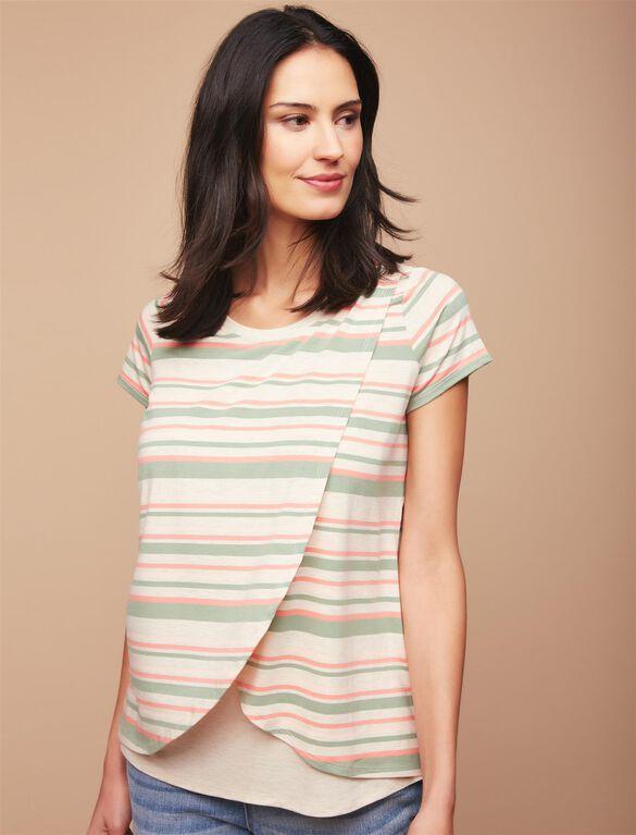 Short Sleeve Tulip Layered Nursing T-shirt- Stripe, Multi Stripe