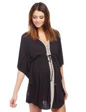 Crochet Detail Maternity Swim Cover-up, Black