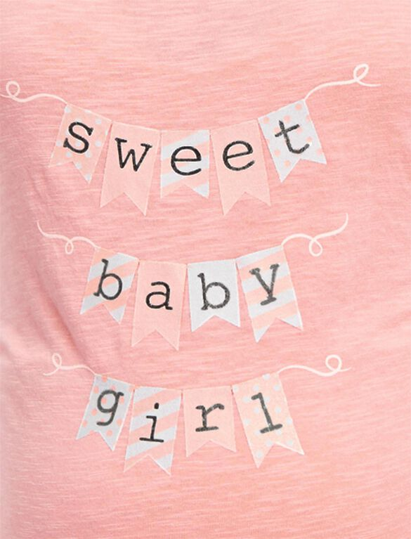 Plus Size Sweet Baby Girl Maternity Tee, Pink