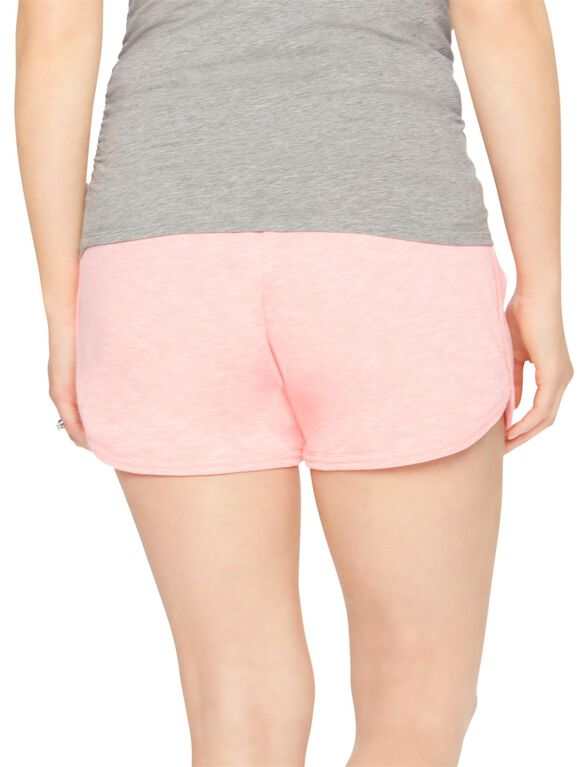 Under Belly French Terry Maternity Shorts- Solid, Shell Pink
