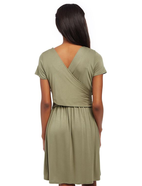 Faux Wrap Nursing Dress- Green, Deep Lichen Green