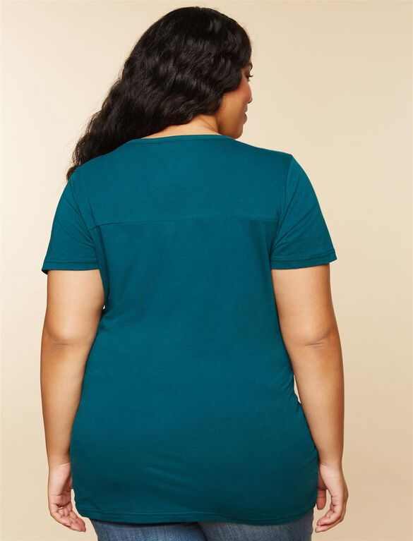 Plus Size Ruched Maternity T Shirt, Green Eagles