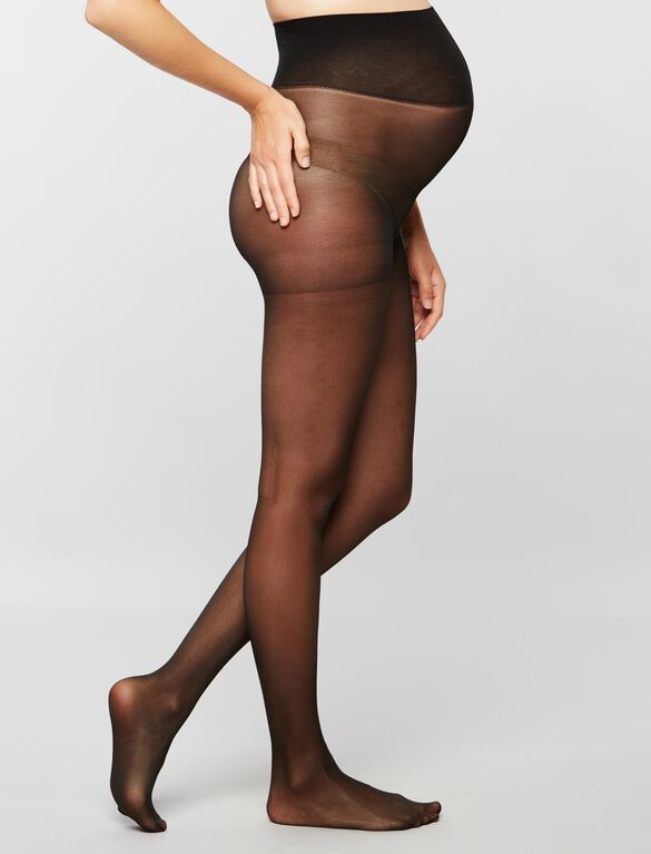 Light Compression Maternity Pantyhose, Black