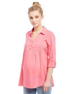 Front Pocket Maternity Shirt- Plaid, Pink